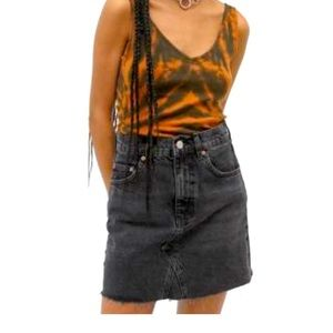 URBAN OUTFITTERS BDG Notched Black Denim Skirt
